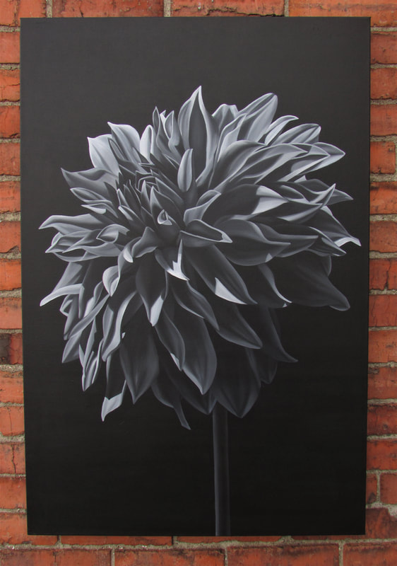 Finding Light black and white original dahlia painting by Lauren Urlacher