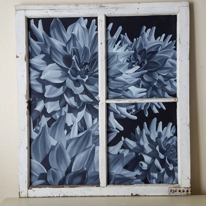 "Black and white acrylic painted dahlias in an old window frame. 28"" x 32"" by Lauren Urlacher"