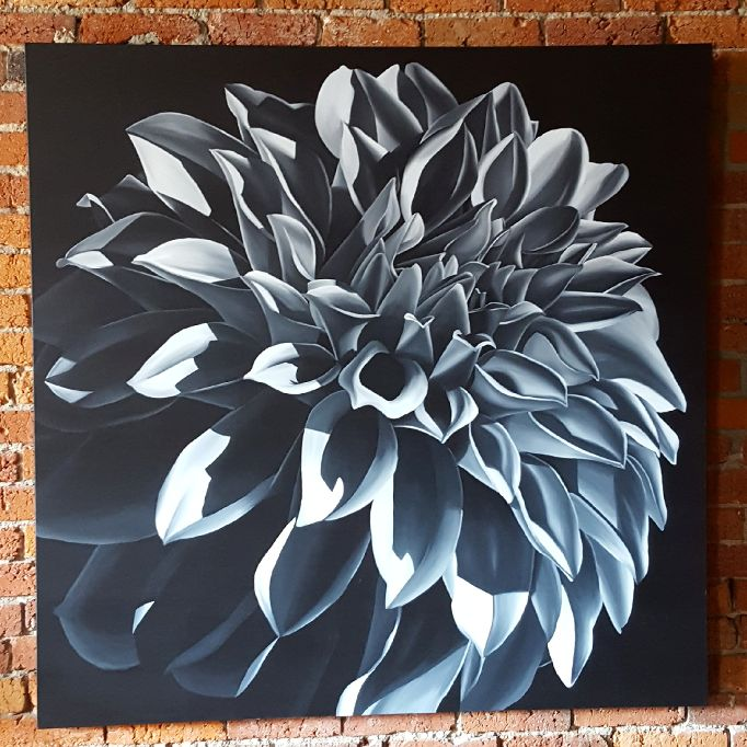 In the Spotlight Acrylic Dahlia painting by Lauren Urlacher