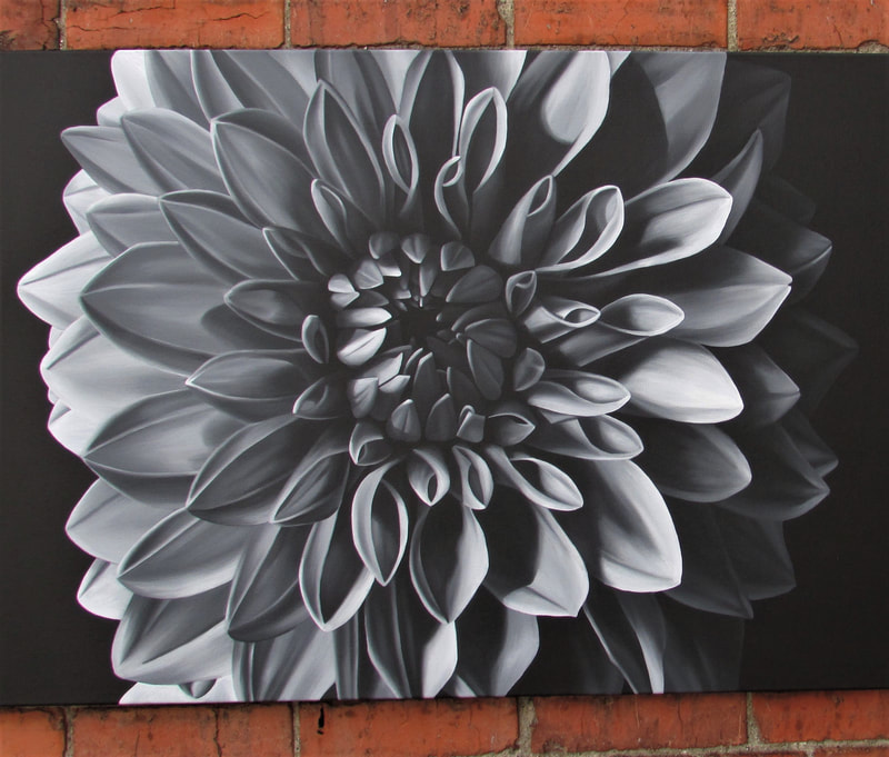 Focus black and white original dahlia painting by Lauren Urlacher