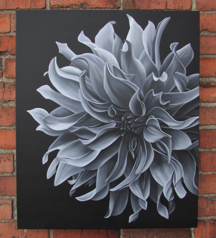 Loose Curls black and white original dahlia painting by Lauren Urlacher