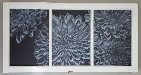 """White Washed Dahlias"" Acrylic on Canvas Stretched in a Window June 2017"